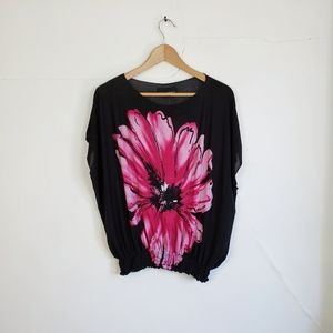 Isabella Rodrigiez Black & Pink Floral Blouse